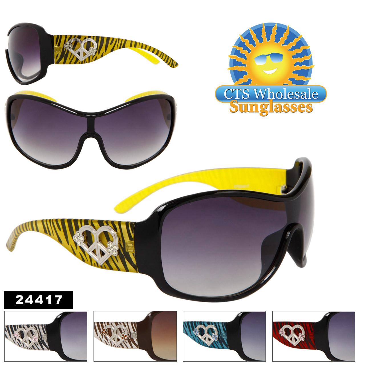 #24417 Designer Sunglasses with Rhinestone Hearts