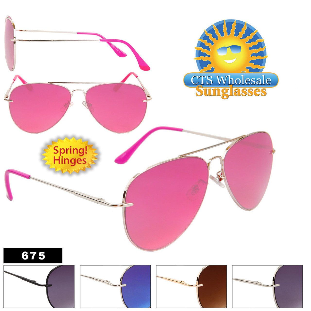 Wholesale Metal Aviators with Spring Hinges - Style # 675 (Assorted Colors) (12 pcs.)