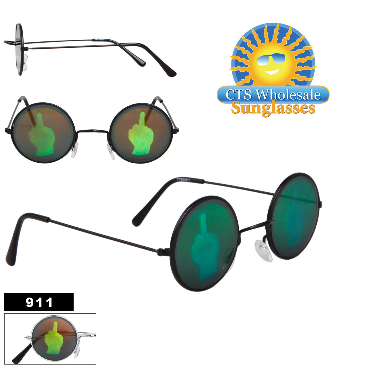 Middle Finger Hologram Sunglasses 911