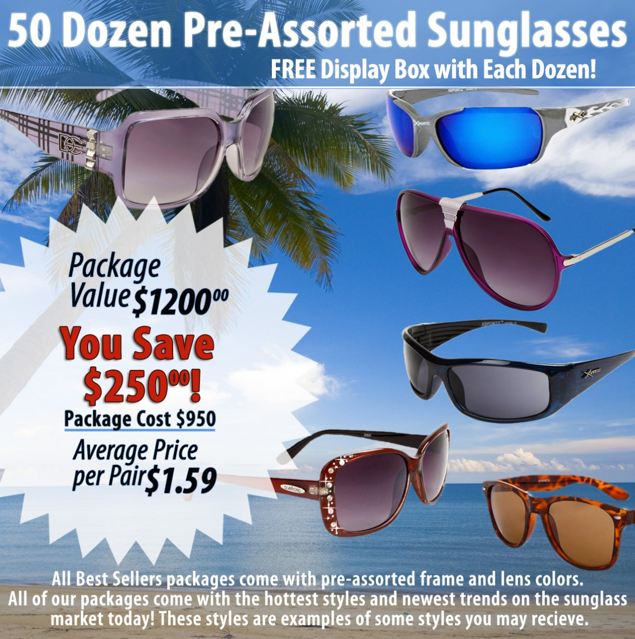 50 Dozen Package Deal | Assorted Sunglasses