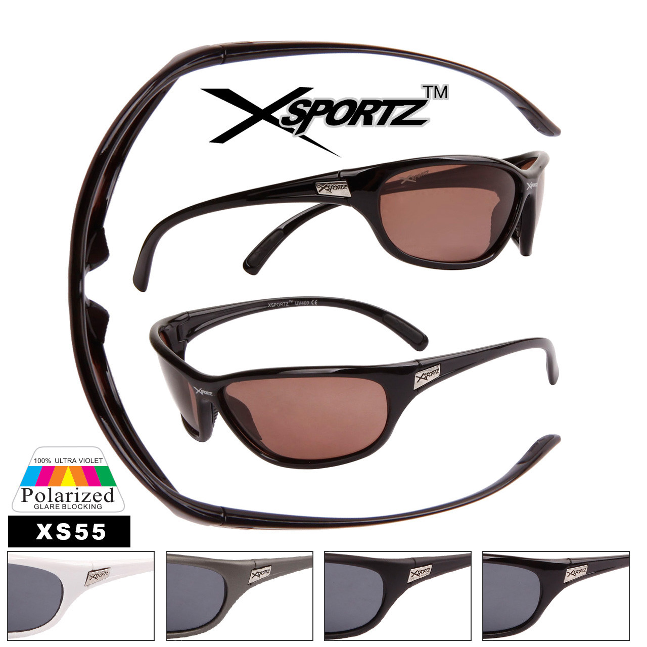 Full Wrap Around Frame Polarized Sunglasses - Style #XS55