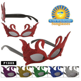 Glitter Swan Sunglasses for Parties