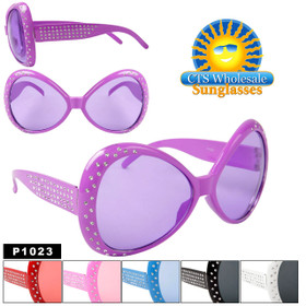 "Party Glasses ""Huge Sunglasses""  ~ P1023 (12 pcs.) With Rhinestones (Assorted Colors)"