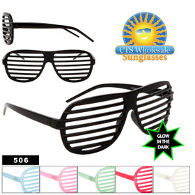 6c76a1c4c2 Glow In The Dark Shutter Shades 506 Black Frame Does NOT Glow (Assorted  Colors) (12 pcs.)