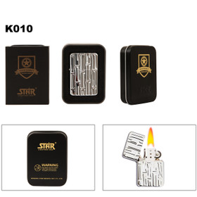 Embossed Bamboo Patterned Brass Lighter & Tin K010