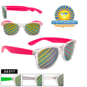 Bulk California Classics Sunglasses - Style # 32317 - Novelty Striped Lens