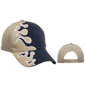 Wholesale Cap with Flames   Khaki & Navy Blue