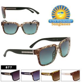 Square Lens Metal Accent Temple Sunglasses - Style #877