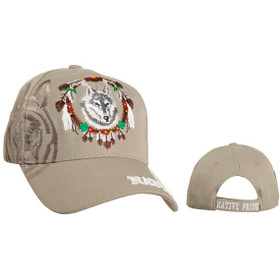 Wholesale Wolf Baseball Hat | Native Pride ~ Beige