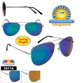 Mirrored Wholesale Polarized Aviators  - Style #30114