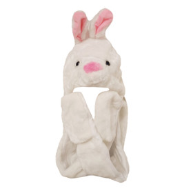 White Bunny Long Arm Animal Hat A123