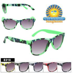 Classic Kids Camouflage style sunglasses.  Each dozen comes in a five color assortment