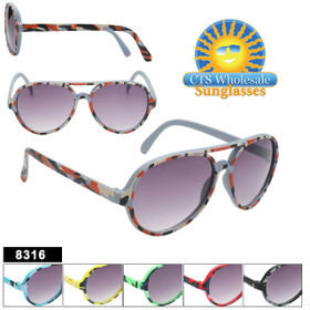 Great Aviator Style Camo kids sunglasses!  This style comes in 6 fun Camouflage colors!