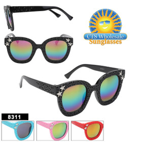 Super fun kids sunglass style!  4 bright fun colors and star accents on each side!  This style will sell fast!