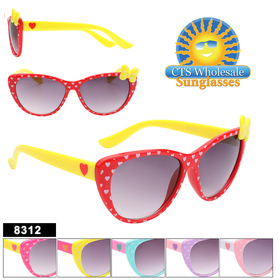 Cute Heart polka dot and bow kids sunglasses!  This is such a cute style with the heart on the temples and the polka dotted bow on the side! 6 great color combinations.