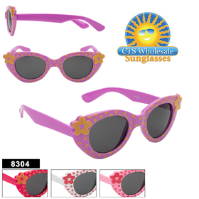 Cute kids flower polka dotted fashion sunglasses.  This style comes in 4 different flower polka dotted colors!