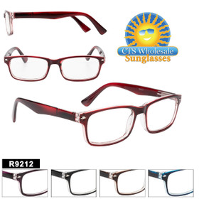 Great Classic Style Reading Glasses in 5 different two-tone colors and a variety of lens powers.