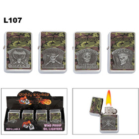 "Lighters Wholesale with camouflage and assorted ""Special Forces"" emblems."
