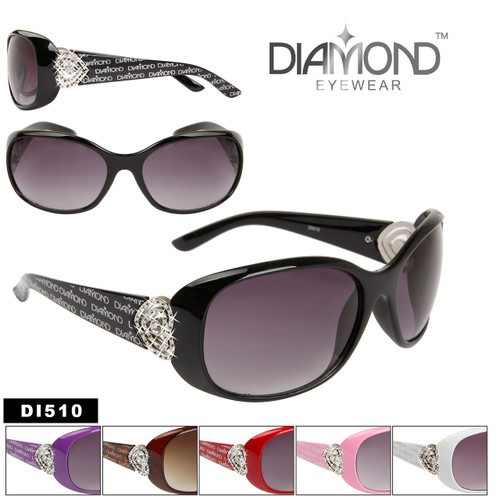 Rhinestone & Heart Accented Diamond Sunglasses DI510