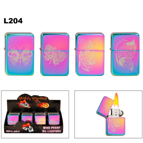 Tri-Color Prism Oil Lighters ~ Assorted Butterfly Designs L204