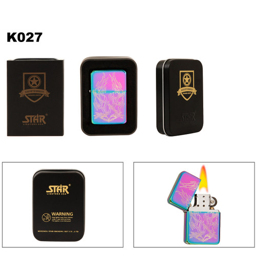 Tri-Color Prism Lighter with Etched Tribal Designs K027