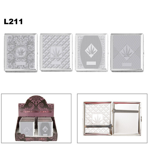 Chrome Pot Leaf Cigarette Cases L211