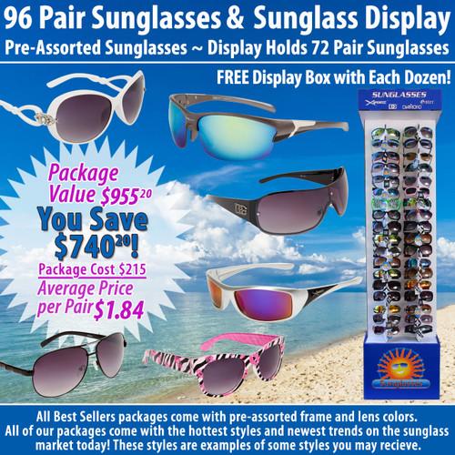 Package Deal SPA14 ~ 96 Pair Sunglasses & 7002 Display (96 pcs.) Display Holds 72 Pair