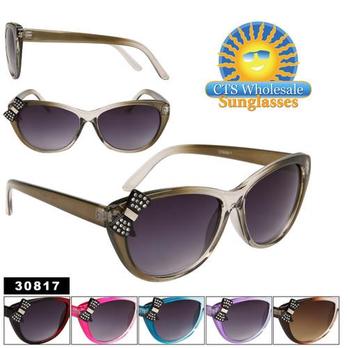Vintage Cat Eye Sunglasses with Rhinestone Bows! 30817
