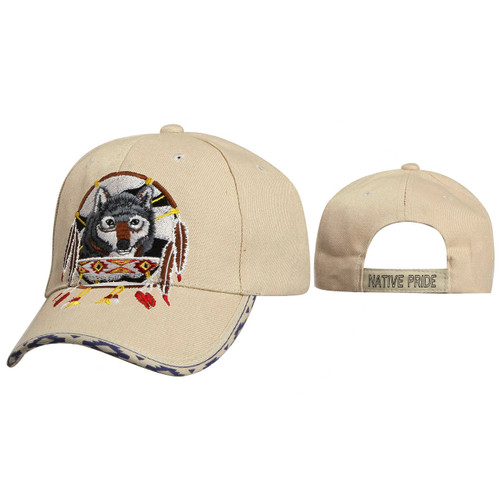 Wholesale Baseball Hats ~ Dreamcatcher with Wolf ~ Beige