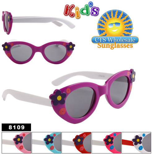 Girl's Fashion Sunglasses with Flowers 8109