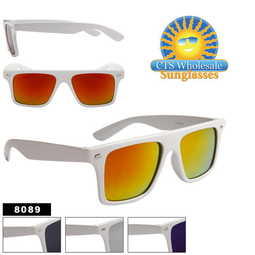 White Mirrored Wayfarer Sunglasses # 8089