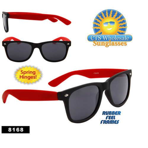 Matte Black & Red California Classics Sunglasses by the Dozen - Style #8168 Spring Hinge