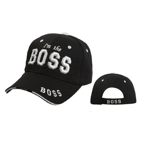 """Wholesale Baseball Cap C5198 """"I'm the Boss"""" Black"""