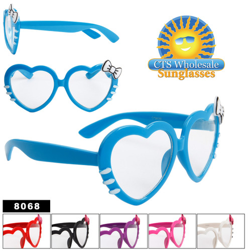 Clear Lens Heart Sunglasses - Style # 8068
