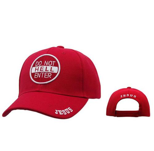 "Wholesale Christian Baseball Cap | ""Do Not Enter Hell""-Red"