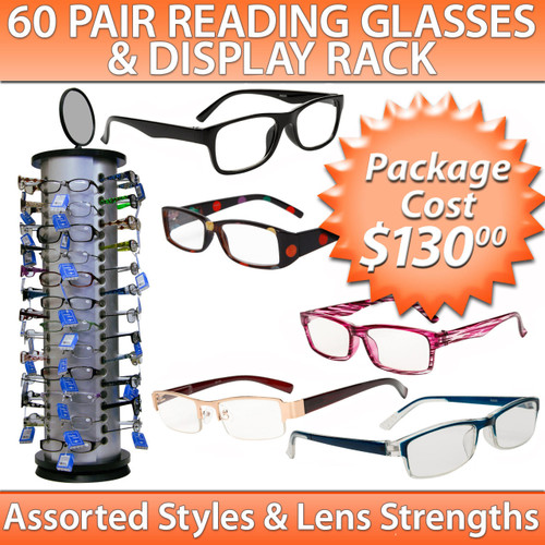 Reading Glasses Sample Pack ~ 60 Pair Assorted Styles ~ Display Stand 7050