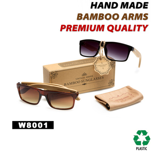 Men's Bamboo Wood Temple Sunglasses - Style #W8001