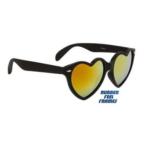 0512debc12bc3 ... Wholesale Heart Sunglasses - Style  6078 Gloss Black with Gold Flash  Mirror ...