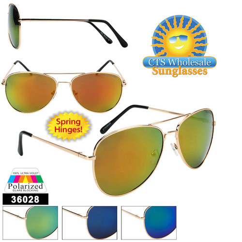 Polarized Wholesale Aviators - Style #36028 Spring Hinge | Flash Lens!