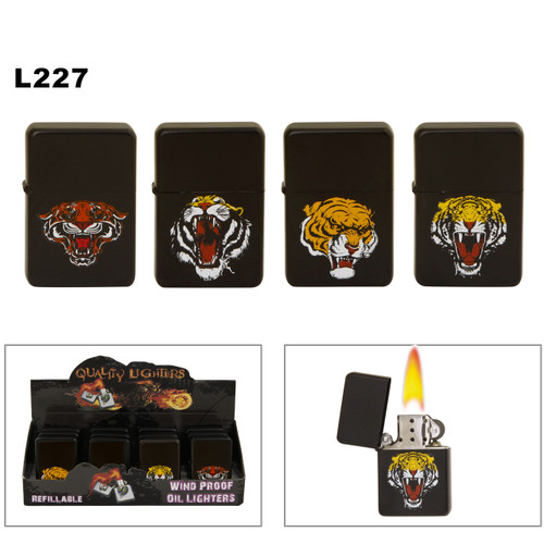 Wholesale Oil Lighters ~ Lighter Fluid NOT Included L227 (12 pcs.) Assorted Fierce Tigers