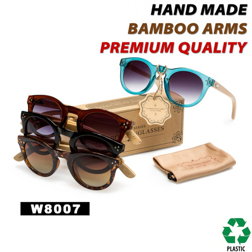 Hand Made Fashion Bamboo Wood Sunglasses - Style #W8007