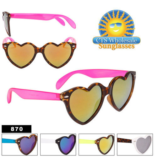 Heart Sunglasses with Mirrored Lens - Style #870