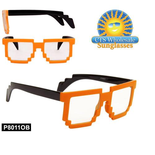 Orange Pixelated Clear Sunglasses - Style #P8011OB