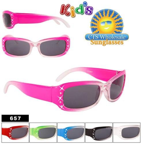Girl's Wholesale Sunglasses with Rhinestones - Style #657