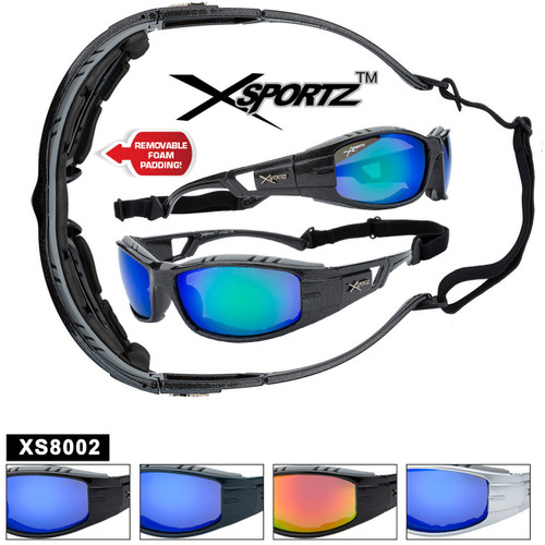 Xsportz™ Padded Sports Sunglasses XS8002 - Removable Pads! (Assorted Colors) (12 pcs.)