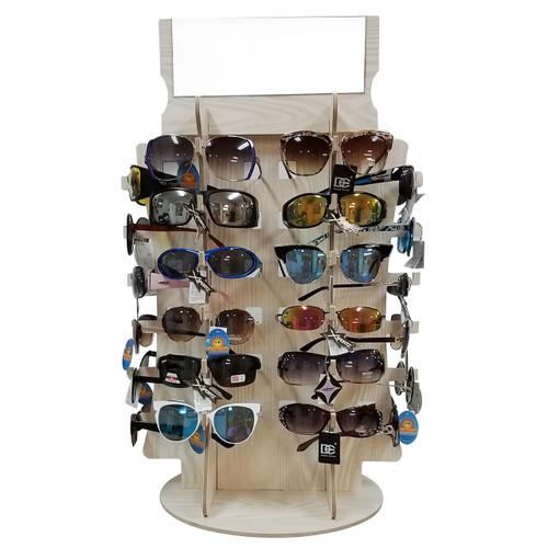 D5014 Wood Sunglass Display | Holds 36 Pair