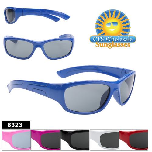 Great Kids sport style sunglasses.  The slightly curved shape helps hold the glasses to the childs face.  This style comes in 6 great color choices making this a perfect unisex style.