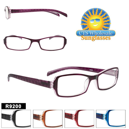 Wholesale Readers in a Stylish full plastic frame with a diamond shaped geometric pattern on the temples.  This style comes in 5 great colors and a variety of lens powers.