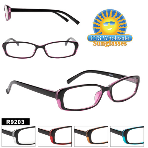 Great two-tone full framed plastic reading glasses.  Available in 5 great color combinations and a variety of lens powers