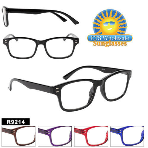 Great Classic Style Plastic framed Readers with Spring Hinges and Metal details on the temples.